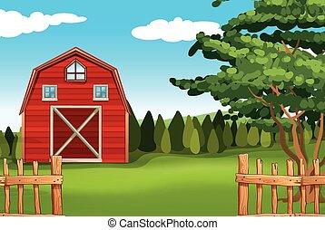 Farmland with barn on the field
