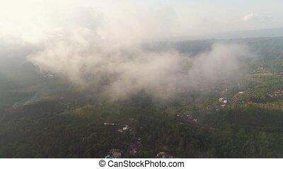 farmlands and village Bali, Indonesia. - Aerial view farm...