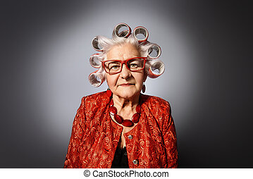 farmor, med, hårrullear
