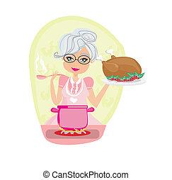 farmor, soppa, höna, tjänande, matlagning