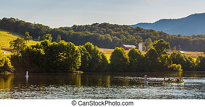 Farms and hills along the Shenandoah River, in the...
