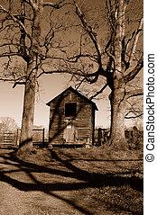 Farms shack - farm shack in sepia tones