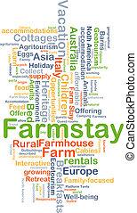 farmstay, fundo, conceito