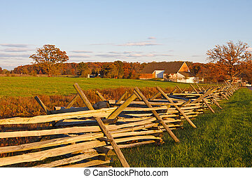 A farmstead on the battlefield at Gettysburg National Military Park, Pennsylvania, USA.