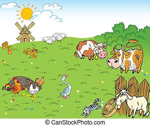 farmyard - The illustration shows the farmyard and meadow on...