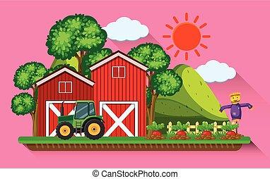 farmyard, trator, vermelho, celeiros