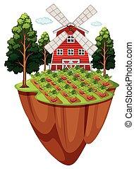 Farmyard with vegetable garden