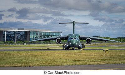 Farnborough, UK - 16th July 2016: An Embraer KC-390 transport aircraft of Brazilian Airforce awaits takeoff
