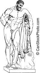 Farnese Hercules, Ist century, vintage engraving. - Farnese...