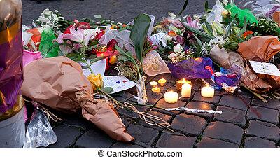 farnese, piazza, candele, francese, luminoso, roma,...
