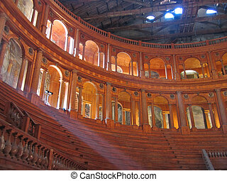 Farnese theater from inside in carving wood, Parma, Italia -...