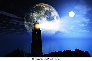 faro, 3d, paisaje, contra, luna