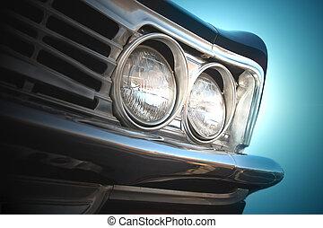 faro, automobile, vendemmia, retro, lampada, primo piano