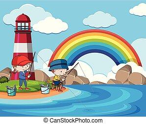 faro, bambini, soleggiato, prossimo, pesca, giorno
