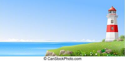 faro, en, un, colina verde, sobre, el, mar