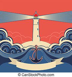 faro, etiqueta, azul, mar, ondas, ancla