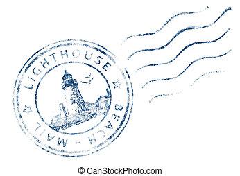 faro, francobollo, design), posta, spiaggia, (grunge