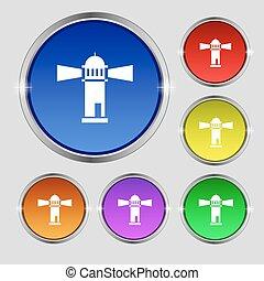 faro, icono, signo., redondo, símbolo, en, brillante, colorido, buttons., vector