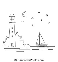 faro, mar, velero, luz de la luna, noche, vector, illustration.