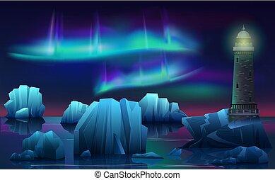 faro, noche, paisaje, northen, ártico, vector, borealis, hielo, aurora, invierno, lights., océano, polar, icebergs.
