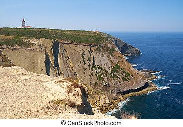 faro, portugal, grande, espichel., capa, acantilados