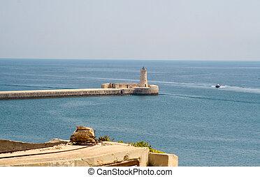 Faro,  Valletta,  malta, magnífico, puerto, vista