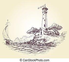 faro, vector, dibujo, vista marina, y, velero, en el mar,...