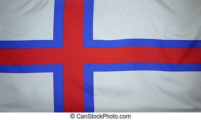 Faroe Islands Flag real fabric - Textile flag of Faroe...