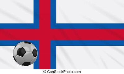 Faroe Islands flag waving and soccer rotates, loop - Faroe...