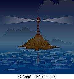 farol, ligado, a, ilha, à noite, com, rays., vetorial, ilustração