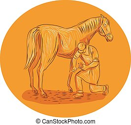 Farrier Placing Shoe on Horse Hoof Circle Drawing - Drawing...