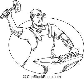 Farrier-wielding-hammer-anvil-DOODLE