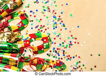 farsang, buli álarc, konfetti, és, lobogó, dekoráció