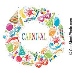 farsang, színes, ikonok, keret, ünnepies, kerek