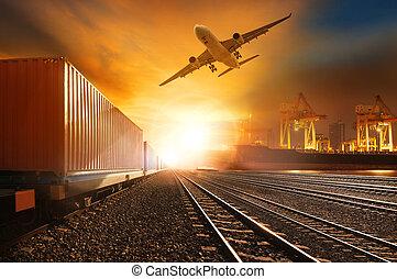 fartøj, skib, havn, transporter last, anvendelse, beholder, flyve, above, firma, banen, jernbaner, kommerciel, løb, trainst, land, industri, luft, logistic