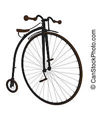 farthing, bicicleta, penique, arte, ilustración