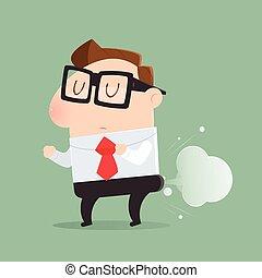 farting, balloon, ilustração, forma, vetorial, caricatura, ...
