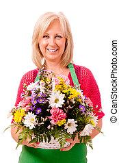 fartuch, odizolowany, zielony, kwiaciarka, portret, uśmiechanie się, biały, szczęśliwy