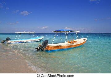 fartyg, in, västindisk strand, turkos sjögång