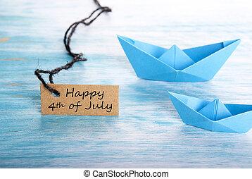 fartyg, med, lycklig, 4 av juli