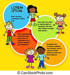 farve, børn, circles-2, cartoon