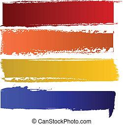 farve, bannere, vektor, sæt