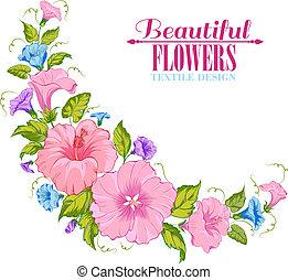 farve, blomster girlande