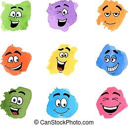 farve, følelsesmæssige, lapper, ansigter