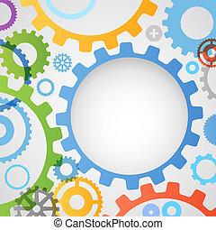 farve, forskellige, gear hjul, abstrakt, baggrund