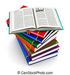 farve, hardcover, bøger, stak
