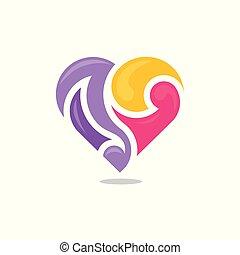 farve, hjerte, abstrakt, vektor, logo