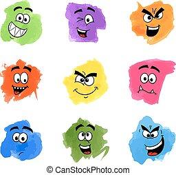 farve, lapper, hos, følelsesmæssige, ansigter
