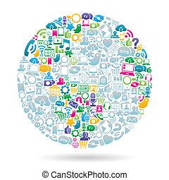 farve, medier, sociale, verden