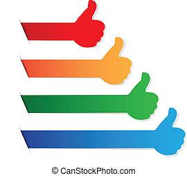 farve, oppe, etiketten, tommelfingre, blank